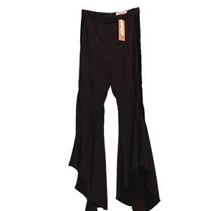 Black flare pants with velvet strip down sides